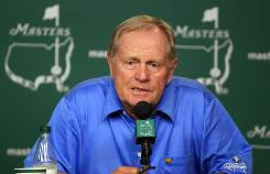Jack Nicklaus speaks to the assembled media last week during his news conference in advance of the Masters. Nicklaus this year joined Arnold Palmer to hit a ceremonial opening tee shot.