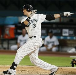 The Marlins' Jorge Cantu homered in the fifth inning, making him the first player in major league history to have at least one hit and one RBI in each of his team's first nine games.