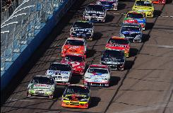 Double-file restarts derived from late-race cautions, such as this one Saturday at Phoenix International Raceway, can help extend races.