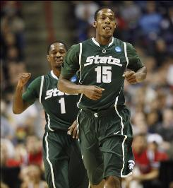 Michigan State hoopsters Durrell Summers (15) and Kalin Lucas, celebrating during their NCAA tournament win over Maryland on March 21, helped lead the Spartans to their sixth Final Four in 12 years.