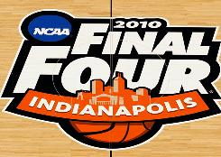 The NCAA's Final Four logo adorned the floor in Indianapolis this year.