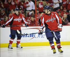 The Capitals' Alex Ovechkin, right, didn't notch a shot on goal or an assist in Thursday's Game 1 loss to the Canadiens.