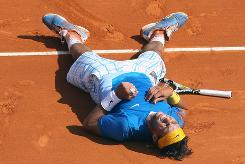 Rafael Nadal celebrates after defeating Fernando Verdasco in straight sets at the Monte Carlo Masters