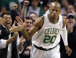 Celtics guard Ray Allen slaps hands with a fan after sinking a three-pointer against the Miami Heat during Game 2. Allen scored a team-leading 25 points.
