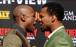 "The May 1 welterweight fight between Floyd Mayweather, left, and Shane Mosley promises to be a contrast of styles and personalities. ""We're totally different,"" Mayweather said Thursday. ""He worries about who's extremely strong. And I worry about being smart and winning."""