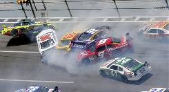 Multicar, chain-reaction mishaps such as this one last year are typical at the 2.66-mile Talladega Superspeedway in Alabama.