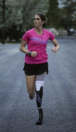 Amy Palmiero-Winters is the first amputee ever named to the U.S. national team, after qualifying to compete at the 24-hour marathon world championships in May.