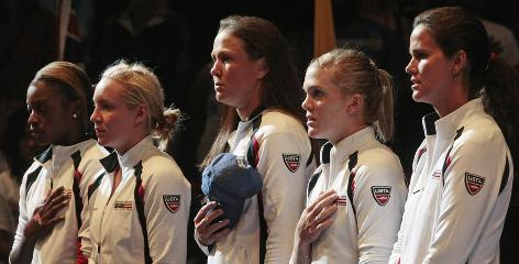 Sloane Stephens, left to right, Bethanie Mattek-Sands, Liezel Huber, Melanie Oudin and captain Mary Joe Fernandez look on during opening ceremonies for the Fed Cup semifinal match against Russia. The USA won 3-2 and moves on to the final in November.