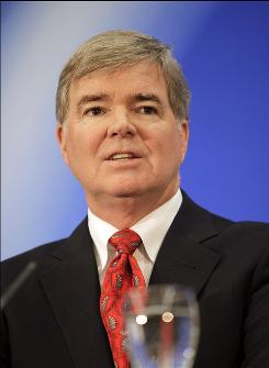 Mark Emmert, President of the University of Washington, speaks during a news conference after being aintroduced as the president of the NCAA in Indianapolis.