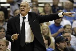 Bobcats coach Larry Brown shouts instructions during Game 2 of their first-round series against the Magic.