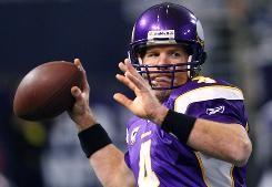 Brett Favre took the Vikings to the NFC championship game in his first season in Minnesota.