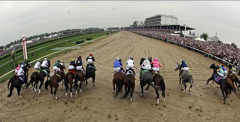 Horses take off for the start of the 135th Kentucky Derby May 2, 2009. The 20-horse field must cover 1 1/4 miles on the Churchill Downs track.