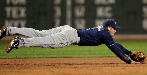 Third baseman Evan Longoria is a standout in the field for the Rays, whose improved defense helped the team reach the 2008 World Series after 10 consecutive losing seasons.