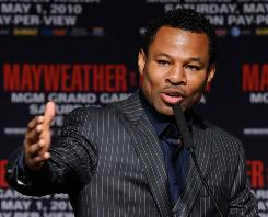 "Boxer ""Sugar"" Shane Mosley speaks Thursday at the final news conference prior to his Saturday bout with Floyd Mayweather Jr. ""This has been a big promotion, but it's the fight I wanted. Now it's time for me to perform,"" says Mosley."