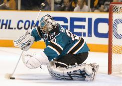 Goalie Evgeni Nabokov allowed just four goals over the final four games of the Sharks' first-round series vs. the Avalanche, but the Red Wings figure to be a tougher test.