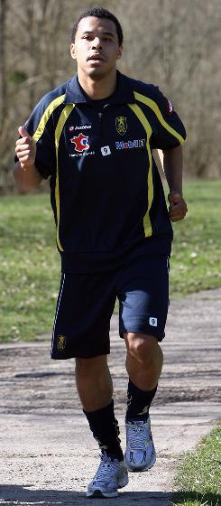 U.S soccer forward Charlie Davies jogs during a training session last week at the Auguste Bonal stadium in Montbeliard, eastern France, for his French club team. Davies has resumed training less than six months after he was nearly killed in a car accident in Virginia.