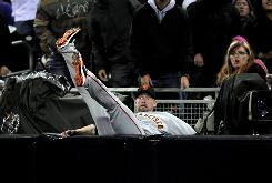 Aubrey Huff fell into the the stands after making a catch April 20, eventually costing the Giants a run in a 1-0 Padres win.