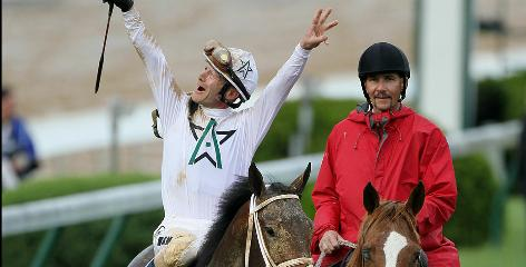 Calvin Borel celebrates atop Super Saver after winning the 136th running of the Kentucky Derby on Saturday.