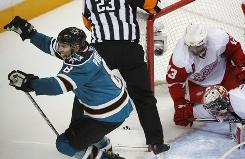 San Jose Sharks center Joe Pavelski celebrates his goal Sunday in Game 2 against the Detroit Red Wings. He has four goals in the series.