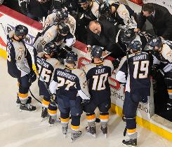 Nashville Predators coach Barry Trotz draws up a play during a timeout against the Chicago Blackhawks in Game 6 of their first-round series.