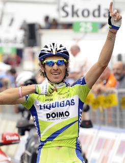Franco Pellizotti celebrates his victory on Stage 17 of the 2009 Giro d'Italia. He finished the race in second place.
