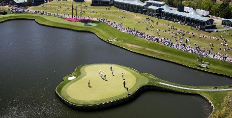 The view from the NBC camera tower of the 17th green at TPC Sawgrass during The Players Championship.