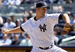 The Yankees' Javier Vazquez, pitching April 14 vs. the Angels, has allowed 25 earned runs in 23 innings this season.