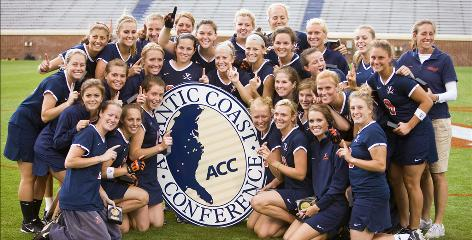 Yeardley Love, bottom row, second from right, celebrates with her Virginia teammates after the Cavaliers won the 2008 Atlantic Coast Conference women's title. Love's murder is the second in the central Virginia city of Charlottesville in 2010 after none in 2009.