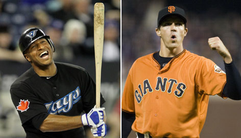 Blue Jays outfielder Vernon Wells and Giants starting pitcher Barry Zito are both off to hot starts in 2010. Wells has eight home runs after hitting 15 total in 2009; Zito is 5-0 with a 1.49 ERA.
