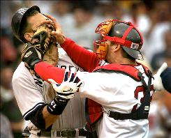 The Yankees' Alex Rodriguez, left, and the Red Sox's Jason Varitek tangled in a July 2004 game, with both getting ejected.