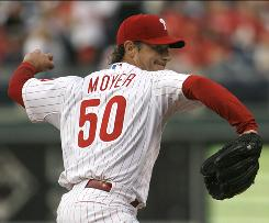 Philadelphia pitcher Jamie Moyer recorded his 10th career shutout and 32nd complete game in a 7-0 win over the Braves.