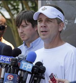 New Orleans Saints coach Sean Payton speaks with the media after a team workout in Metairie, La.