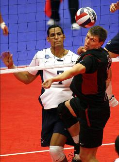 Gus Ellis, right, and Stanford defeated Edgardo Goas and Penn State to win the NCAA Division I volleyball championship in a three-set sweep.