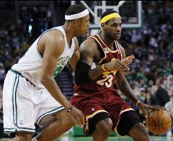Boston Celtics forward Paul Pierce, left, has been run ragged by Cleveland Cavaliers forward LeBron James. Pierce had nine points and was 3-for-8 Sunday in Boston's series-evening 97-87 win in Game 4 of its Eastern Conference semifinal.