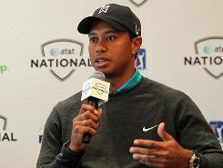 Tiger Woods addresses the media at the AT&T National Media Day at Aronimink Golf Club.