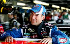 Marcos Ambrose takes a break during practice for the Showtime Southern 500 at Darlington Raceway.