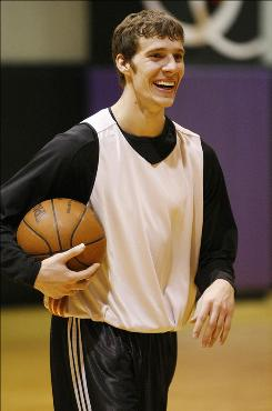 Goran Dragic, finishing up practice above, has excelled as point guard Steve Nash's backup in the playoffs, and he played a particularly big role in the Suns' Game 3 victory vs. the Spurs, scoring 26 points.