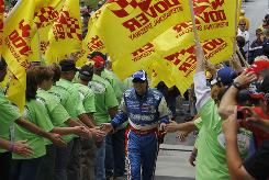 David Reutimann takes part in driver introductions before Sunday's 400-miler at Dover International Speedway.