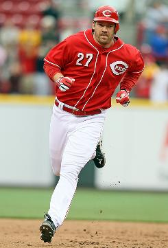 Reds pinch-hitter Scott Rolen hit a game-tying two run home run in the bottom of the 9th inning off Brewers closer Trevor Hoffman. The Reds won 5-4. 