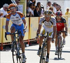 David Zabriskie, left, edged out Michael Rogers to take the Tour of California lead after three stages.