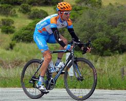 Garmin-Transitions' Dave Zabriskie rides during Stage 3 of the Tour of California in Santa Cruz.