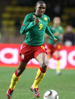 Forward Samuel Eto'o is Cameroon's all-time leading scorer with 42 international goals and was the African player of the year from 2003-05.