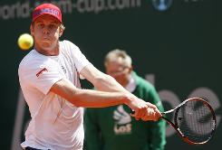 Sam Querrey of the USA lines up a backhand during his victory Thursday against Jan Hajek of the Czech Republic during their round-robin match at the ARAG ATP World Team Championship in Duesseldorf, Germany.