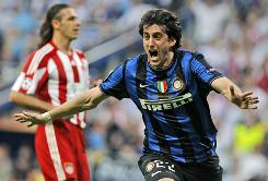 Inter Milan's Diego Milito celebrates scoring during the Champions League final against Bayern Munich. Inter Milan won 2-0.