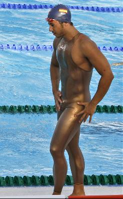 Spain's Melquiades Alvarez Caraballo arrives for a training session at the FINA Swimming World Championships in Rome in July 2009. The high-tech body-length suits made perhaps their final appearance at the U.S. Masters championships this past weekend in Atlanta.