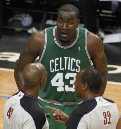 Kendrick Perkins pleads his case with the officials during Game 5 of the Eastern Conference finals. Perkins was given two technicals, but one was later rescinded by the league.