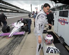 "Graham Rahal, 21, at a practice session Tuesday, says of his father, Bobby, ""Some people would probably be scared to see how similar we are."""