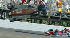 Mike Conway's car takes off into the air between the third and fourth turn as Ryan Hunter-Reay gets tangled up in the crash.
