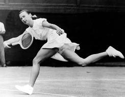 Gertrude Moran caused a sensation at Wimbledon in 1949 when she wore a short tennis dress with uffled, lace-trimmed briefs showing below the hem.