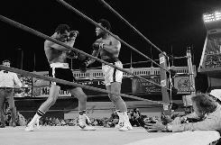 Heavyweight champion Muhammad Ali knocks challenger Ken Norton back in the 14th round of their title fight on September 28, 1976 in New York's Yankee Stadium.